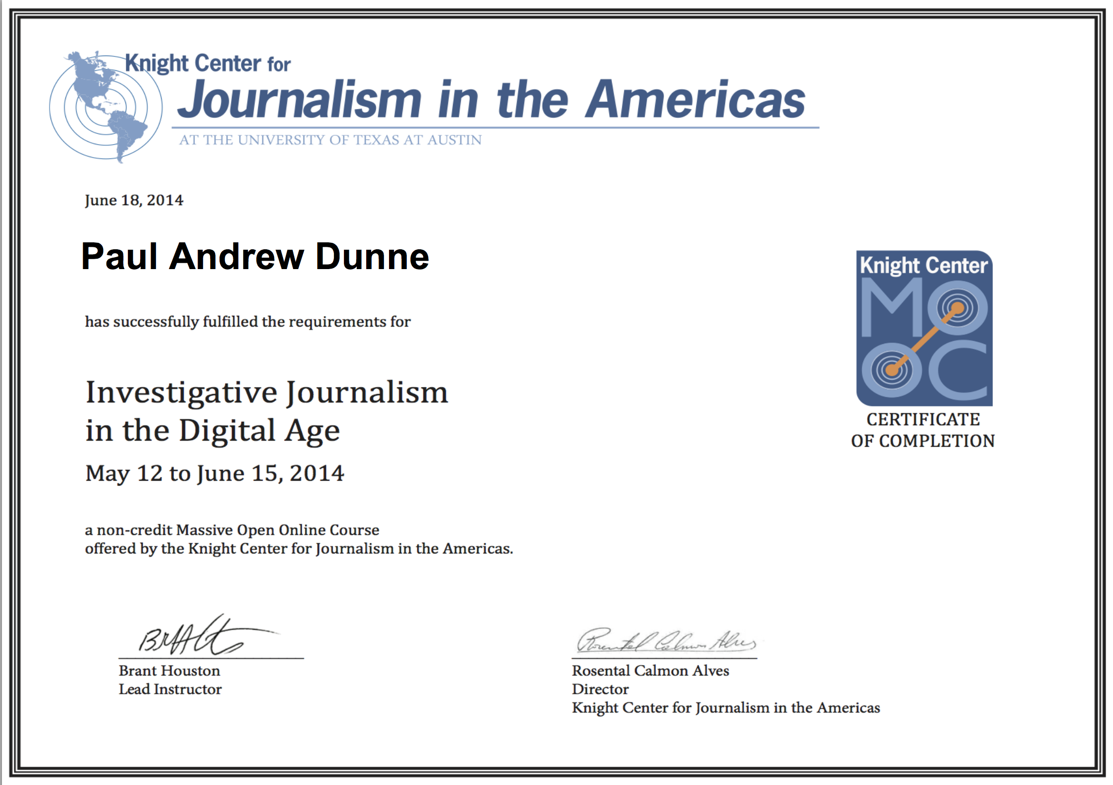 Investigative Journalism Course Certificate