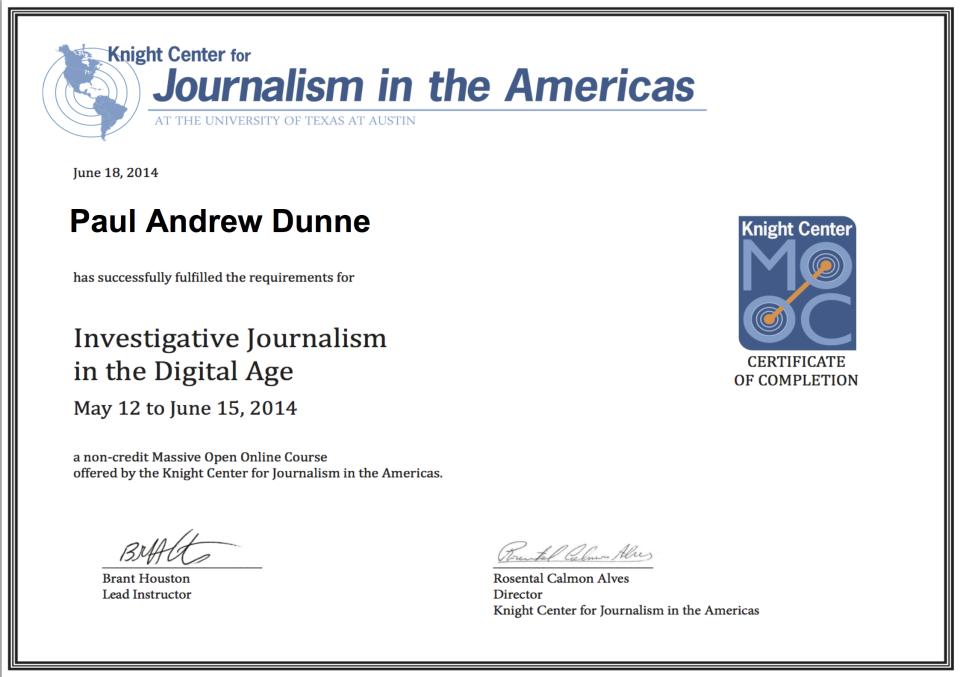investigative journalism cert