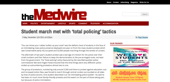 Student march met with 'total policing' tactics